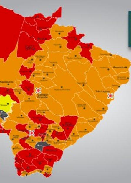 PROSSEGUIR: 32 municípios estão na bandeira vermelha e 44 na laranja